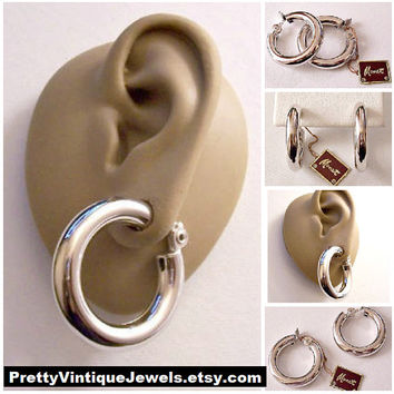 Monet Round Open Tube Hoops Clip On Earrings Silver Tone Vintage Big Large Round Ring Smooth Dangles