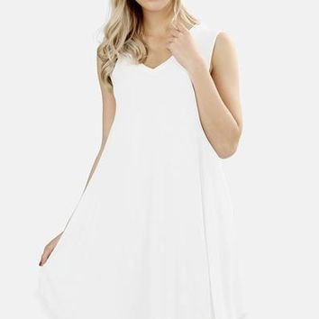 Essential Sleeveless V Neck Tunic Dress