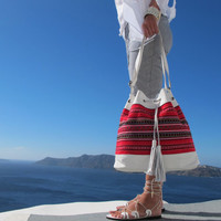 Leather bucket bag, Shoulder bag,Summer Crosbody bag handmade of white leather and traditional woven fabric in red Crete-SB 04W NEW