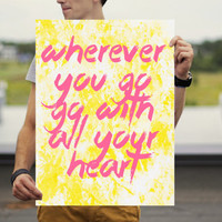 Wanderlust Poster - Travel Quote Poster - Inspiration Wall Art - Motivational Poster - Inspirational Poster - Pink & Yellow Poster