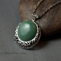 Green Adventurine Pendant | Silver Filigree Pendant | Gemstone necklace | Green Stone Necklace | Round Stone | Silver Chain or Black Choker