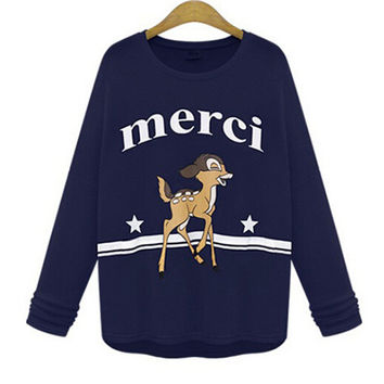 Cartoon Merci Print Long Sleeve Sweater