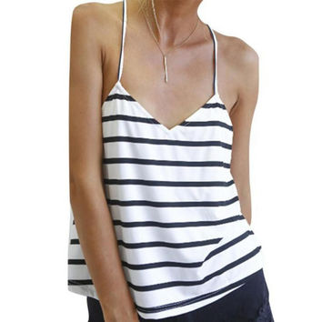Striped Backless T-Shirt