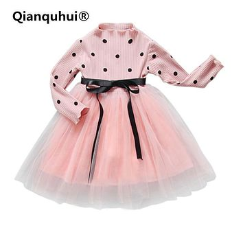 Qianquhui 2017 Autumn Sweet Baby Girls Dress Sweater Princess Polk Dot Dress Baby Clothes For Girls Party Pageant Long Sleeve