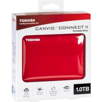 Toshiba - Canvio Connect II 1TB External USB 3.0/2.0 Portable Hard Drive - Red