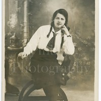 Vintage Young Pretty Woman Photo RPPC, Casual Pose , Studio Seated Portrait - Real Photo Postcard