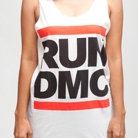 RUN DMC T Shirt King Of Rock Hip Hop Rap Women White T-Shirt Vest Tank Top Singlet Sleeveless Size S M