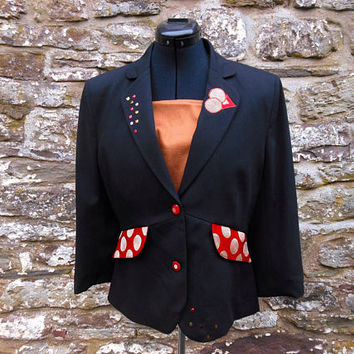 Upcycled black peplum jacket. Restyled occasion jacket, sequin jacket, applique jacket. Restyled eco chic, OOAK.