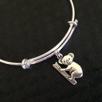 Koala Bear on Expandable Adjustable Silver Wire Bangle Gift Trendy Unique Bracelet Trendy Fun Unique Handmade Made in USA