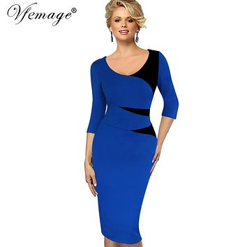 Vfemage Womens Vintage Stylish Ladylike Casual Patchwork 3/4 Sleeve O-Neck Bodycon Women Office Wear to work Pencil Dress 4435