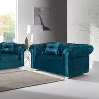 Chesterfield Velvet Turquoise Loveseat | Love seats MIL-29-LS/3