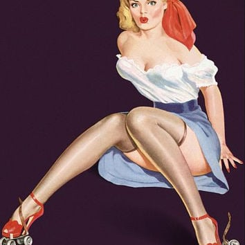 Pinup Girl Blonde On Roller Skates Pinup Poster