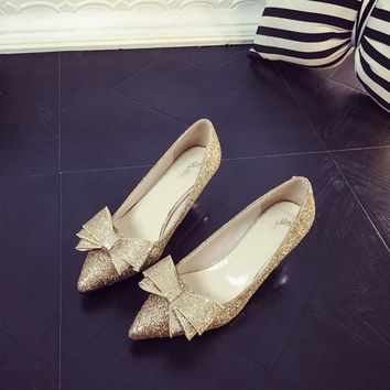 Women's Gold Sequined Pointed Bow Knot Kitten Heel Pumps
