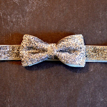 Silver Glitter Bow Headband. Girls Hair Accessories, Glitter Elastic Headband, Silver Bow Headband. Sparkle Headband, Adult, Teen, Baby Girl