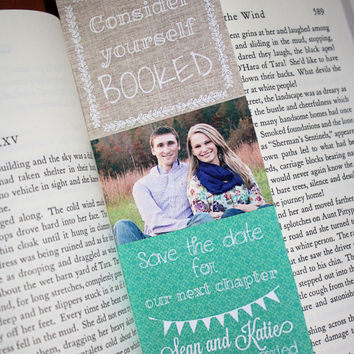 Custom Save the Date Bookmarks. Teal. Literary rustic wedding.