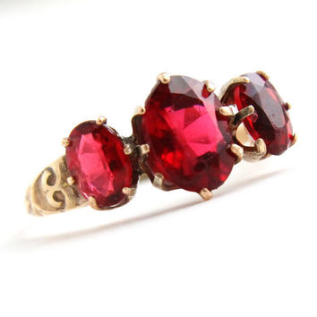 Antique Victorian 10k G.F. Ring -  Size 6 3/4 Three Ruby Red Stones Fine Jewelry / Late 1800s W L & Co