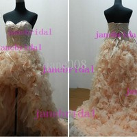 Wholesale Wedding Dress - Buy High-low Short Front Long Back Zuhair Murad Wedding Dress Feather Lace Up Corset Real Picture, $156.13 | DHgate