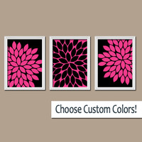 Hot Pink Black Wall Art Canvas Bedroom Artwork Girl Flower Burst Dahlia Bloom Set of 3 Trio Prints Bathroom Decor Three