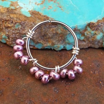Rose Gold Beaded Nose Hoop Earring Helix Cartilage Tragus Rook Daith