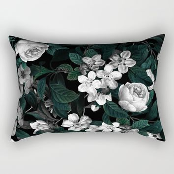 Botanical Night Rectangular Pillow by Burcu Korkmazyurek