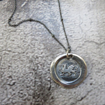 Welsh Dragon Antique Pure Silver Antique Wax Seal and Sterling Silver Necklace