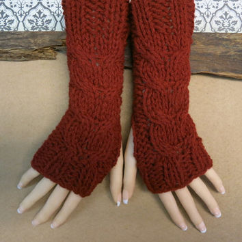 Burgandy Fingerless Gloves, Wrist Warmers, Cabled Arm Warmers, Womens Chunky Knitted Gloves, Australia, Nchanted Gifts