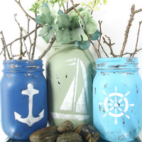 Nautical Themed, Mason Jar Set