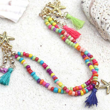tassel beaded choker, choker, starfish necklace, tassel jewelry, beachy, tassels, 90's choker, chocker, boho choker, tassel jewelry, beads