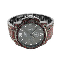 Mens Black Dial Watch Red Simulated Diamonds Iced Out Jojino Jojo Roman Display