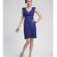 Sapphire Embroidered V-Neck Dress - Unique Vintage - Prom dresses, retro dresses, retro swimsuits.