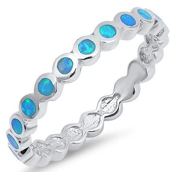 Thin Round Band of Blue Opal Eterenity Band Sterling Silver Ring
