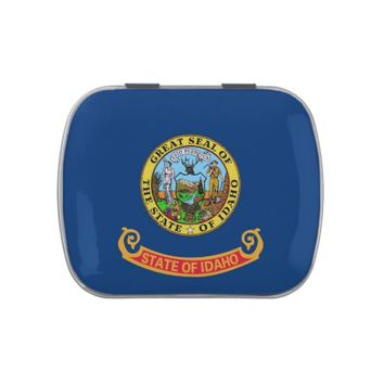 Patriotic candy tins with Flag of Idaho