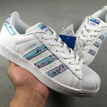 LMFON6GS didas Superstar W Shell-toe Flats White Blue Women Sneakers Causel Sport Shoes