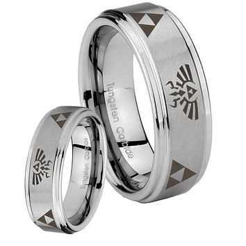 His and Hers Step Edge Legend of Zelda Tungsten Silver Wedding Rings Set