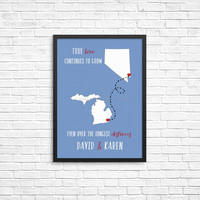 Long distance love Print | going away love gift |  long distance present | Custom boyfriend state art | long distance romance