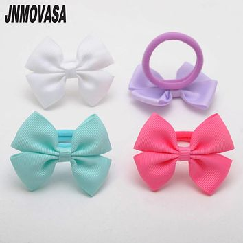 2 Pcs/lot High quality Ribbon Bows Hair Gum Hair Accessories Headwear Hair Bows For Girl Rubber Band Elastic Bands