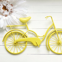 Metal Bike Art / Beach Decor / Retro Decor / Bike Decoration / Metal Wall Art / Bicycle Art / Customize Color / Yellow Home Decor