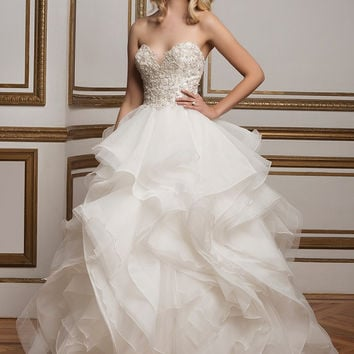 Justin Alexander 8845 Strapless Beaded Ruffle Ball Gown Wedding Dress