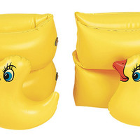 Set of 2 Yellow Funny Duckie Inflatable Swimming Pool Arm Floats for Kids 3-6 Years