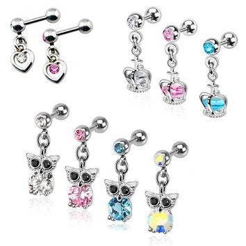Crystal CZ Gem Heart Dangling Crown Design Owl Pendant Earring Stud Tragus Helix Cartilage Piercing Jewelry