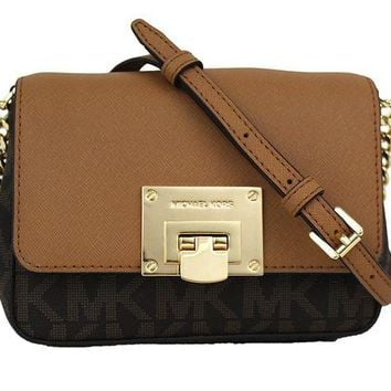ONETOW Michael Kors Tina Small Leather Clutch, Crossbody Shoulder Bag