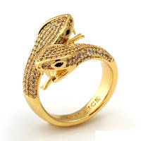 JUNGL JULZ 18K Gold Twin-Headed Snake Ring