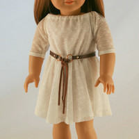 American Girl Doll Clothes - OOAK Lace Dress, Knit Jacket, and Two Belts