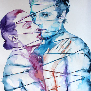 Original Watercolor Painting. Wall art  Portrait of couple. Love Me Tender .