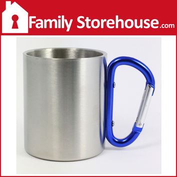 STAINLESS CARABINER MUG, Blue BY AGS BRANDS
