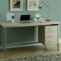 "Natural Reclaimed-Look / Silver Metal 60""L Office Desk"