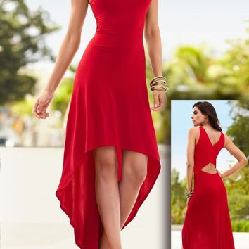 Red Cut Out Draped High-Low Round Neck Las Vegas Party Maxi Dress