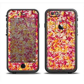 The Orange and Pink Candy Sprinkles Apple iPhone 6 LifeProof Fre Case Skin Set