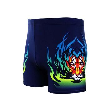 Mens Swimwear Beach Wear Boy Sexy Swimming Trunks Elesticity Waist Print Fire Tiger Shorts Boxers Natation Homme Swimsuit Man