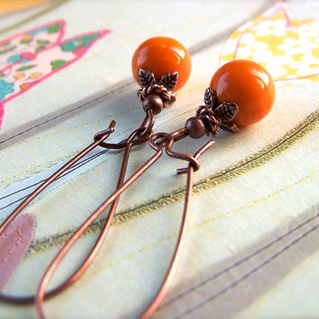 Orange Bead Earrings, Copper Dangle Earrings, Cute, Vintage Style, Holidays, Women's Spring Jewelry